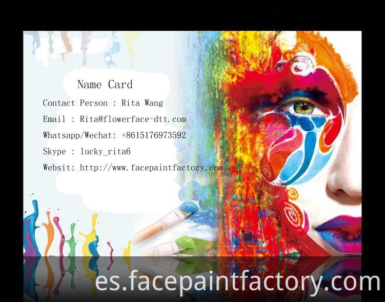 face paint name card