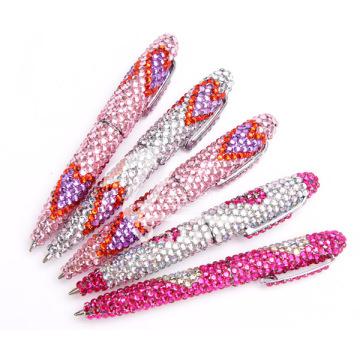 Bolígrafo decorativo de diamantes de colores de cristal