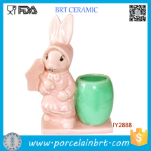 Cute Easter Uncle Bunny Flower Pot Mini Jardinera de escritorio de cerámica