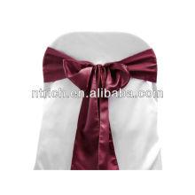 Borgonha cetim faixa de cadeira, laços de cadeira, quebra para hotel do banquete de casamento