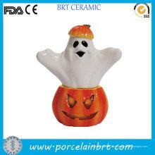 Abóbora de Halloween e saleiro de fantasma