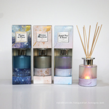 LED light 100ml reed diffuser in pearlized glass bottle in window box