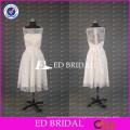 Elegant White Lace Bateau Neck Tea Length A Line Bridesmaid Dress With Bow Sash
