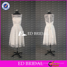 Elegant White Lace Bateau Neck Tea Length A Line Bridesmaid Dress With Bow Sash