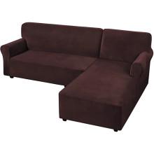Home Textiles Velvet Corner Dyed L-Shaped Sofa Covers Anti-Slip Sectional Sofa Slipcovers