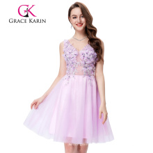 Grace Karin sin mangas con cuello en V de tul de compensación rosa vestido de baile corto GK001008-1