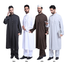 High quality pure color dubai muslim abaya and pants set muslim men abaya