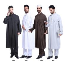 Alta qualidade pure color dubai muçulmano abaya e calças set muçulmano homens abaya
