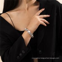 European and American Fashion Jewellery Silver Jewelry Diamond Cuban Buckle Star Hip Hop Punk Cuban Thick Chain Bracelet for Women
