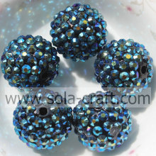 20*22MM Dark Blue AB Solid Acrylic Round Beads Resin Rhinestone For Jewelry
