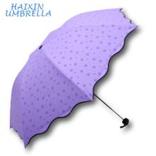 Promotion Cadeau 21 Pouce 7 K Super Llight Lumineux Couleur Trois Plier Main Enfant Crayon Parapluies Parapluies En Caoutchouc Noir Anti UV pour Fille