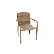 Rotin osier dinant la chaise de bras sans coussin