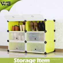 Cabinet de rangement de chaussure en plastique de 6 cubes Shelf