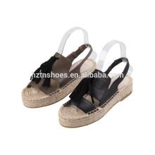 2016 women's shoe soft leather elastic band platform espadrille sandal tassel trim
