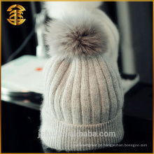 Fábrica Atacado Fashion Fox Pom Pom Fur Cashmere Hat