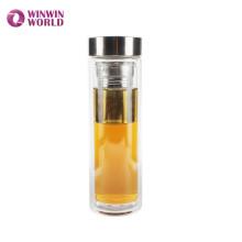 BPA frei auslaufsicher Doppelwand Glas isoliert Kaffee / Tee Thermosflasche mit Teesieb