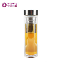 BPA Free Leakproof Double Wall Glass Insulated Coffee/Tea Thermos Bottle With Tea Strainer