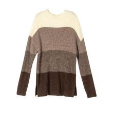Suéteres de mujer Casual cuello redondo Color Block Patchwork Pullover Knit Tops