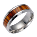 Fashion Titanium Plated Wood Blank Ring For Inlay