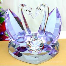 Purple Crystal Glass Swan para regalos de boda