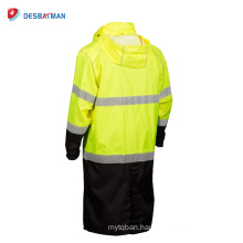 2017 Durable Breathable Waterproof HI VIS Long Rain Coat Windproof Work Reflective Jacket Zipper front With Storm Flap Closure