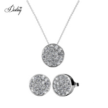 Fashion Simple 18K Gold Plated Round Set Stud Earrings Jewellery Set with Sparkle Crystals