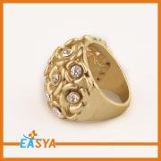 Mode Gold Crystal blomma kluster Ring för flickor