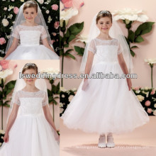 HF2025 Hand-beaded lace appliques short sleeve bateau flower girl dresses
