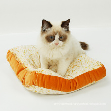 Washable Toast Shaped Pet Cushion Turkish Plush Pet Cat Mat Pillow