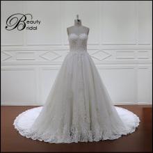 A Line Lace up Back Long Train Lace Bridal Dress