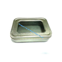 Battery / Jewelery Mini Tin Container With Pvc Clear Window