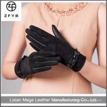 ZF5125 Mujeres al por mayor que usan los guantes de cuero guantes de cuero del ante