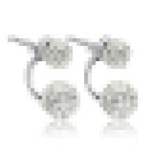 Pendientes de plata esterlina 925 con cuentas dobles para mujer