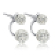 Women′s 925 Sterling Silver Double Bead Stud Earrings