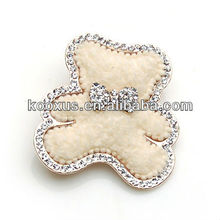 Lovely bear fabric brooch with rhinestone