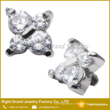 316L Surgical Steel Prong Set Cubic Zirconia Butterfly Dermal Anchor Top