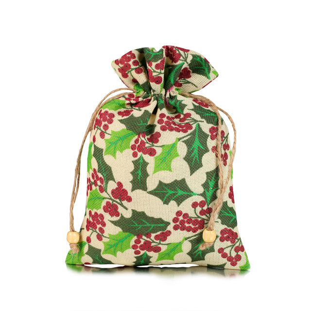Wholesale cheap floral prints flax drawstring bag