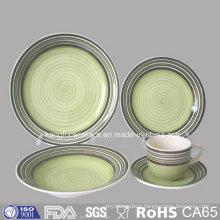 Green Color Glazed Ceramic Stoneware Plate and Mug