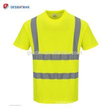 2018 Nueva camiseta cal manga corta alta visibilidad ropa de trabajo de seguridad reflexiva