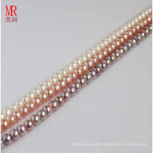 5-6mm White, Pink, Lavender Cultured Pearl Strand, Button Round
