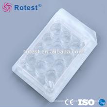 Plato plástico desechable de cultivo celular de 12 agujeros.