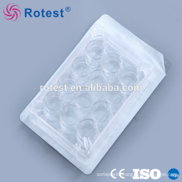 12 holes disposable plastic cell culture plate