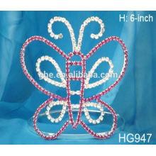 Corona de la corona del rhinestone de la correa y tiara del sceptre y exhibición de la tiara del scepter