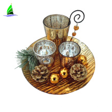 Wholesale table wedding decoration bougeoir en verre hand made gold glass candle holder set of 3