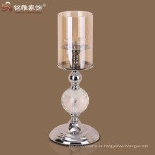 Xmas decoración facotory suministro de metal de alta calidad y el titular de la vela de cristal