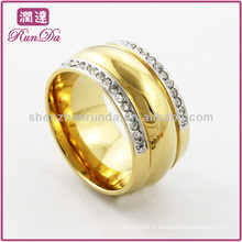 Anneaux en acier inoxydable anneau plaqué or deux ros de bagues en cristal