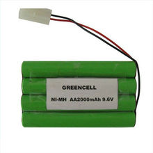 9.6V 2000mAh AA Ni-MH Rechargeable Cells, Suitable for Portable Device, Consumer/Industrial Products