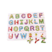 Hölzernes Großbuchstabepuzzlespiel der pädagogischen Babyspielwaren