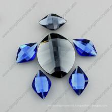 Leaf Shape 20mm Flat Back Glass Rhinestones with Silver Foiled