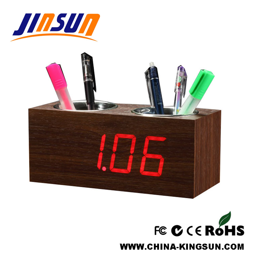 Office Double Pen Container Holder Alarm Clock